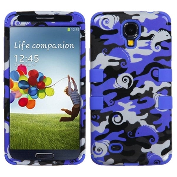 INSTEN Blue Swamp Camo/ Violet Blue TUFF Phone Case Cover for Samsung Galaxy S4
