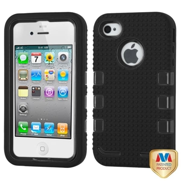 INSTEN Natural Black/ Black TUFF Phone Case Cover for Apple iPhone 4/ 4S