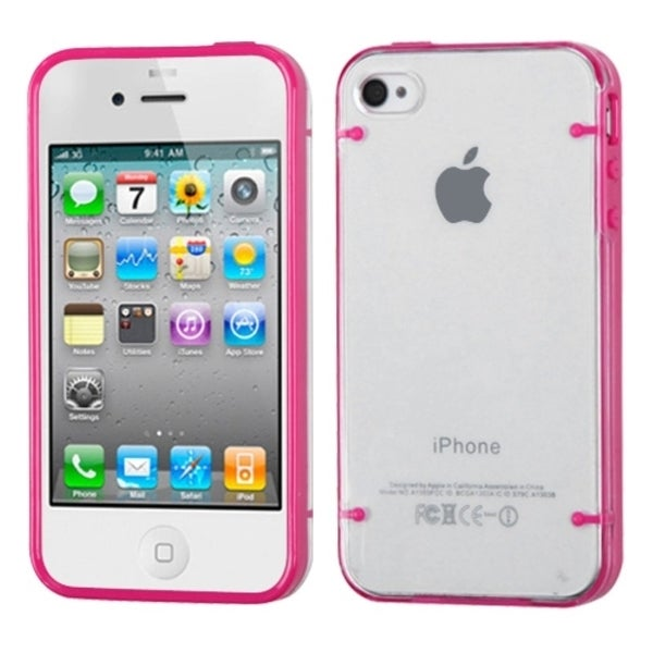 INSTEN T-clear/ Solid Hot Pink Tentacles Phone Case Cover for Apple iPhone 4/ 4S