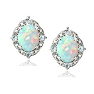 Glitzy Rocks Sterling Silver Opal, Blue Topaz and Diamond Oval Earrings (I-J, I2-I3) 1 7/8 carat TGW