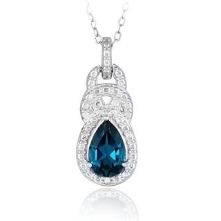 Glitzy Rocks Sterling Silver Diamond Accent and London Blue Topaz Teardrop Necklace (I-J, I2-I3)