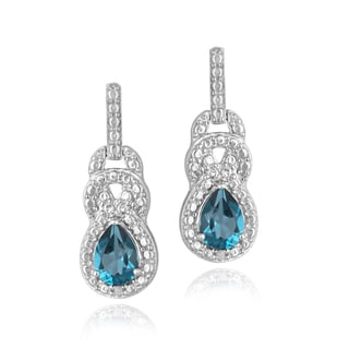 Glitzy Rocks Sterling Silver London Blue Topaz and Diamond Earrings (I-J, I2-I3)