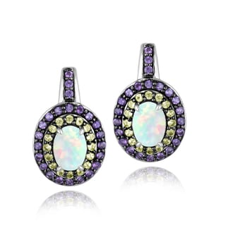 Glitzy Rocks Sterling Silver Opal, Peridot and Amethyst Oval Earrings