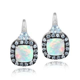 Glitzy Rocks Sterling Silver Opal and Blue Topaz Earrings