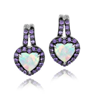 Glitzy Rocks Sterling Silver Opal and Amethyst Heart Earrings