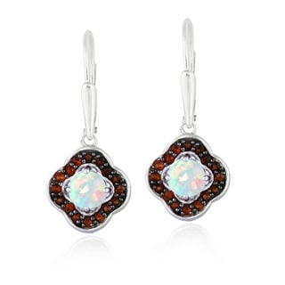 Glitzy Rocks Sterling Silver Opal and Garnet Clover Earrings