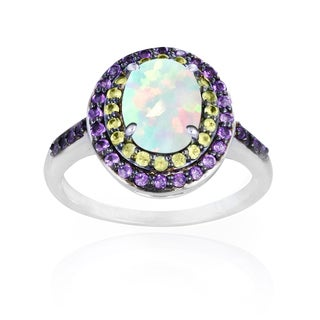 Glitzy Rocks Sterling Silver Opal, Peridot and Amethyst Oval Ring