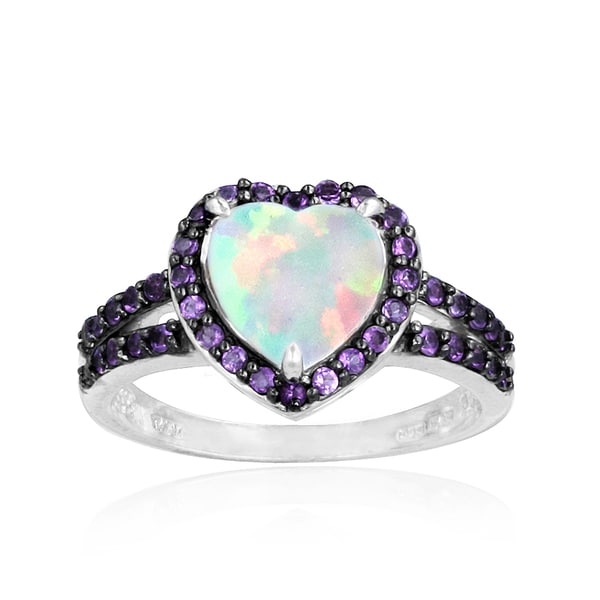 Glitzy Rocks Sterling Silver Opal and Amethyst Heart Ring