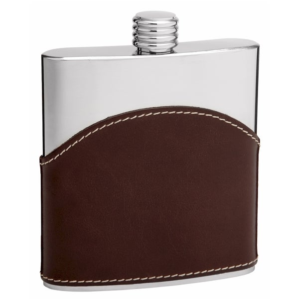 6-Ounce Stainless Steel and Brown Leather Hip Flask