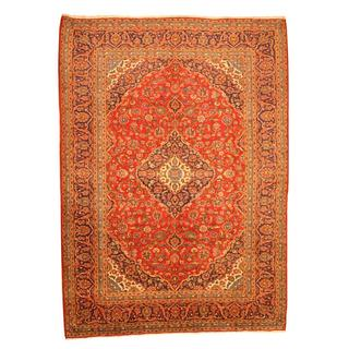 Persian Hand-knotted Kashan Red/ Navy Wool Rug (9'7 x 13'2)