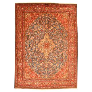 Persian Hand-knotted Mashad Blue/ Red Wool Rug (9'7 x 13'5)