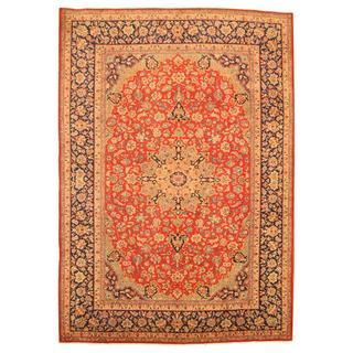 Persian Hand-knotted Isfahan Red/ Navy Wool Rug (9'7 x 13'4)