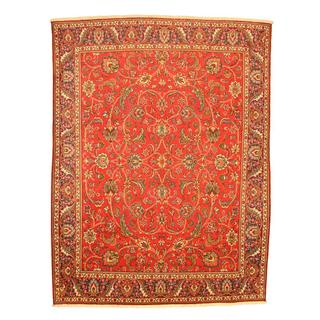 Persian Hand-knotted Tabriz Red/ Navy Wool Rug (9'10 x 13')