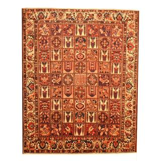 Persian Hand-knotted Bakhtiari Burgundy/ Ivory Wool Rug (9'10 x 12'2)