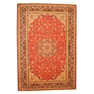 Persian Hand-knotted Isfahan Red/ Navy Wool Rug (9'8 x 14'2)
