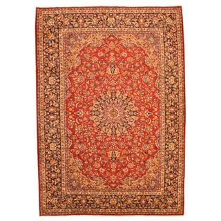 Persian Hand-knotted Isfahan Red/ Navy Wool Rug (9'8 x 13'7)