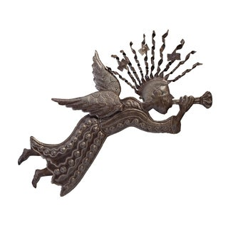 Handcrafted Recycled Steel Drum Heralding Angel Wall Art (Haiti)