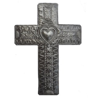Handcrafted Recycled Steel Drum Cross with Milagro Heart Wall Art (Haiti)