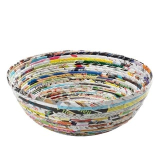 Handcrafted Recycled Magazine Paper Decorative Bowl (Vietnam)