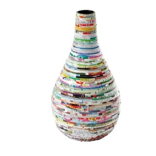 Handcrafted Recycled Magazine Paper Decorative Teardrop Vase (Vietnam)