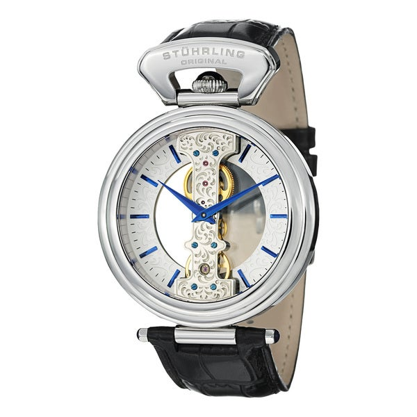 Stuhrling Original Men's Emperor Spire Mechanical Skeleton Leather Strap Watch with Silvertone Dial