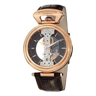 Stuhrling Original Men's Emperor Spire Mechanical Skeleton Brown Leather Strap Watch