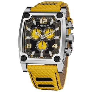 Akribos XXIV Men's Black/Yellow Chronograph Yellow Subdial Genuine Leather-strap Watch