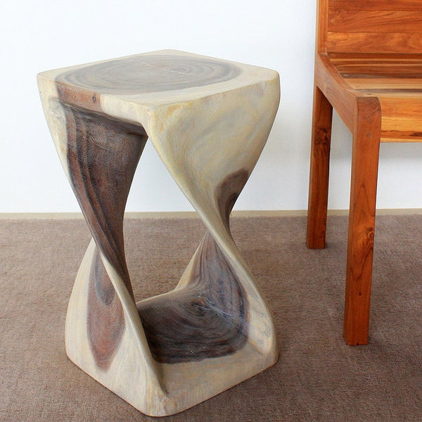 Agate Grey Oil 12 Inches Square x 20 Inches High Twist Stool (Thailand)