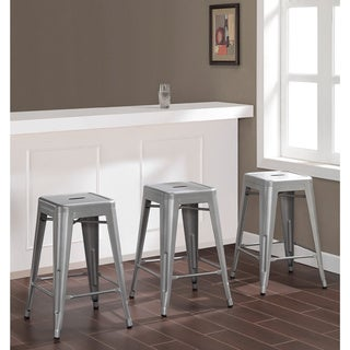 Tabouret 24-inch Metal Counter Stools (Set of 2) with Bonus Stool
