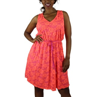 Wrapper Women's Plus Orange Sleeveless Lace Dress