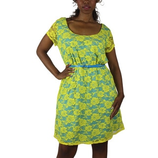 Wrapper Women's Plus Yellow Lace Belted Dress