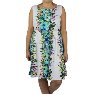 Wrapper Women's Plus White Floral Print Sleeveless Dress