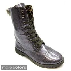 Blue Women's 'Millie-Glitz' Glittery Combat Boots