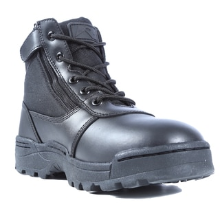 Dura-Max Men's Black Leather Mid-calf Zippered Work Boots
