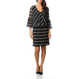 Gabby Skye Women's Black/ Ivory Zig-zag Blouson Dress