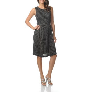 Gabby Skye Women's Glitter Printed Cable Knit Dress