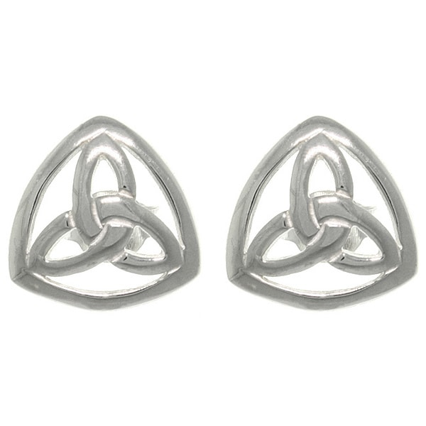 Carolina Glamour Collection Silver Celtic Trinity Knot Stud Earrings