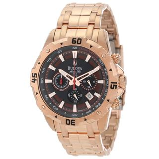 Bulova Men's 98B121 Rose Gold Tone Marine Star Chronograph Watch