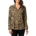 Isaac Mizrahi Women's Leopard Print Button-down Woven Top