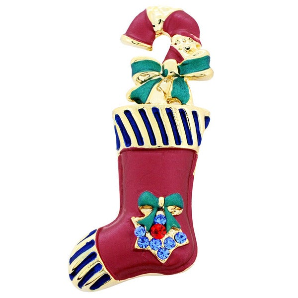 Goldtone Crystal Christmas Stocking and Candy Cane Brooch