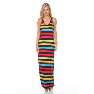 Stanzino Women's Multicolored Stripe Racerback Maxi Dress