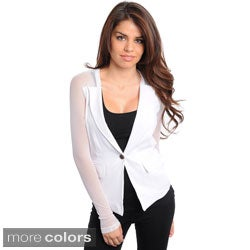 Stanzino Women's Slim Fit Sheer Sleeve Blazer