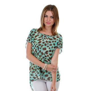 Stanzino Women's Plus Animal Print Chiffon Open-back Top