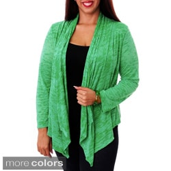 Stanzino Women's Plus Open-front Draped Cardigan