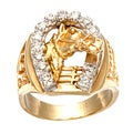 14k Yellow Gold 1/4ct TDW Diamond Horseshoe Estate Ring (K-L, I1)