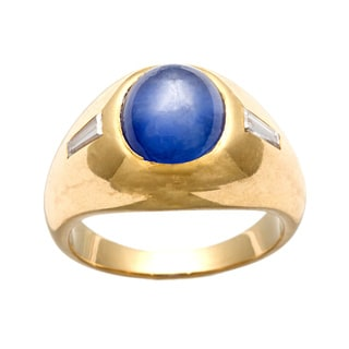 18k Gold Star Sapphire and 1/6ct TDW Diamond Estate Ring (J-K,SI1-SI2)