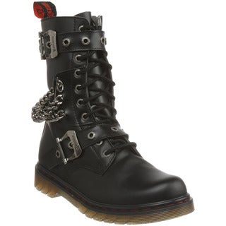 Demonia Men's 'Disorder-204' Black Chains and Straps Combat Boots
