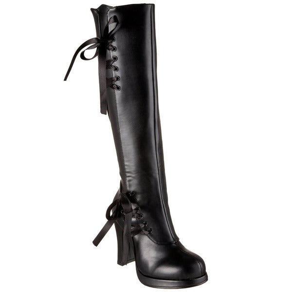 Demonia Women's 'Crypto-300' Black Laced Accent Knee-high Boots
