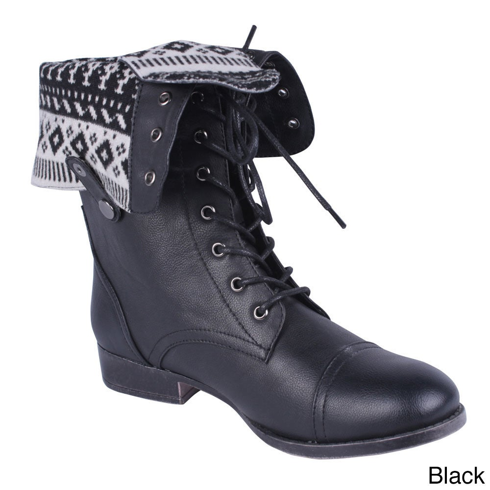 DBDK Women's Sharpery-1 Fold-over Printed Lining Combat Boots ...