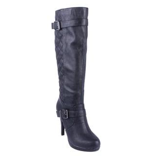 DBDK Women's 'Salti-2' Black Quilted Back Stiletto Boots